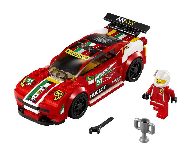 LEGO Speed Champions - Ferrari 458 Italia GT2 - set 75908 con Minifigura Pilota Ferrari, Chiave Inglese e Trofeo